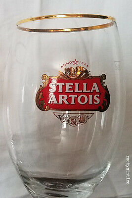 GOLD RIMMED STELLA ARTOIS STEMMED BEER GLASS~GREAT~33cl~belgium chalice swag