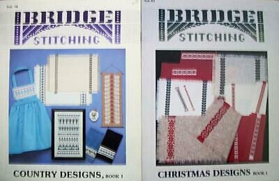 2 New-Bridge Stitching Leaflets-Corinne Bridge-Several Designs-Christmas,Country