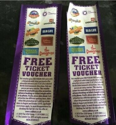 Cadburys Free Adult Entry Vouchers x 2, Legoland Alton Towers Blackpool Tower,