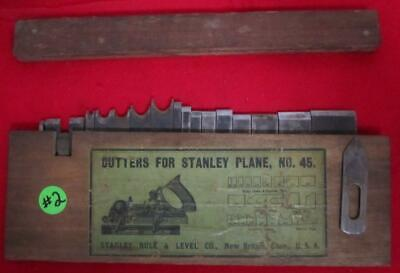 Vintage Stanley 45  Combination Plane Wood Box With 17 Cutters Nice Box