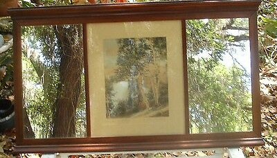 Beautiful Large Antique Wallace Nutting Signed Birch Hill Top Scenic Mirror