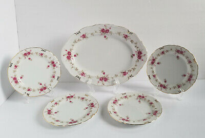 Norleans China Caroline Platter Set of 4 Bread Butter Plates Japan Floral Gold