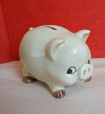 Vintage PIggy Bank Hand Painted Ceramic Original Sticker OMC Japan Mid Century