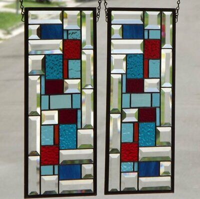 •Geo• Red &Turquoise Pair of Beveled Stained Glass Window Panels