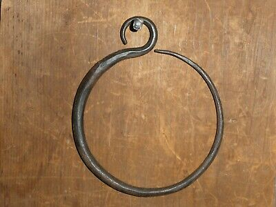 Old Vintage Antique Unique Hand Forged Wrought Iron Hook Ring Holder - Towel