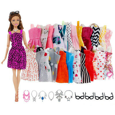 For Barbie Doll Dresses, Shoes and jewellery Clothes Accessories 20 Item/Set RAM