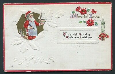 1910's Christmas Postcard - Santa Claus Painting a Toy Boat