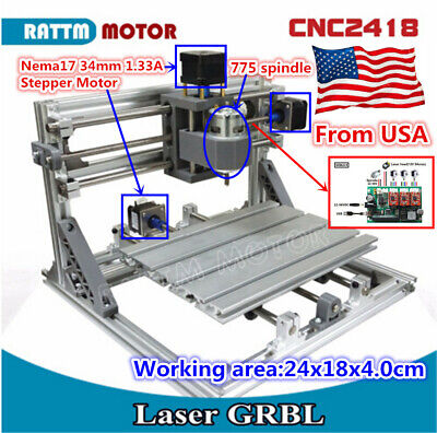 『US』3 Axis 2418 DIY CNC Router Kit PVC Wood Milling Engraving Mini Laser Machine