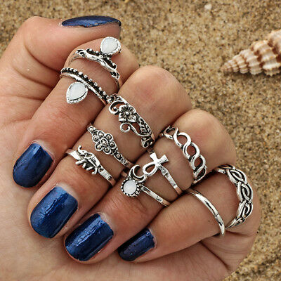 Knuckle Middle Ring Ancient Vintage Punk  Icon Bohemian Moon Elephant Opal Stone