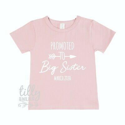 Promoted To Big Sister T-Shirt With Personalised Due Date Pregnancy Announcement