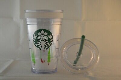 ebd0649909b 2011 Starbucks Plastic Double Wall Cold Cup 16 oz Grande Straw Tumbler  Christmas