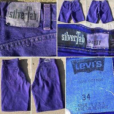 Vintage Levis silverTab Baggy Denim Shorts Purple Made In USA Sz 34