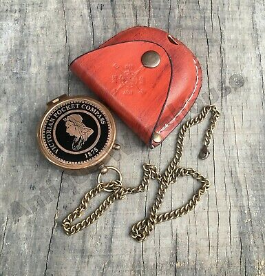 Antique Brass Working Compass With Chain & Leather Case Marine Pocket Gift