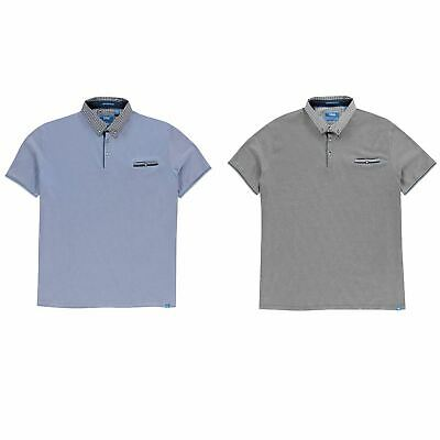 D555 Journey Melange Polo Shirt Mens Collared Top Tee Blue XX-Large