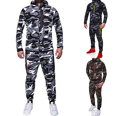 Men Winter Tracksuit Set Hoodie Tops Bottoms Jogging Gym Running Camo Casual Set