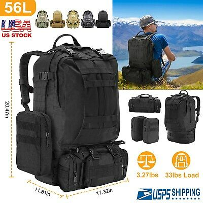 40L/55L Outdoor Military Tactical Backpack Rucksack Camping Hiking Trekking US