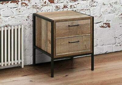 House Additions 2 Drawer Bedside Table Rustic wood 40 x 44 x 50 cm