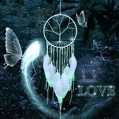 Luminous Feather Glow  in Dark Dream Catcher Night Home Room Hanging Decor White