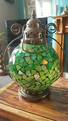 Beautiful Two Tone Mosiac Green Glass And Metal Tealight Holder 30cm Tall