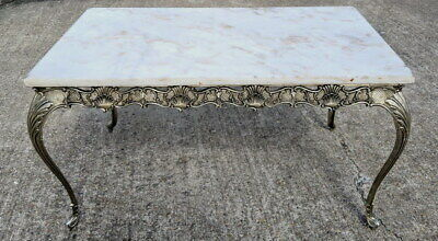 Louis XV Style French Carved  Coffee Table with marbe top