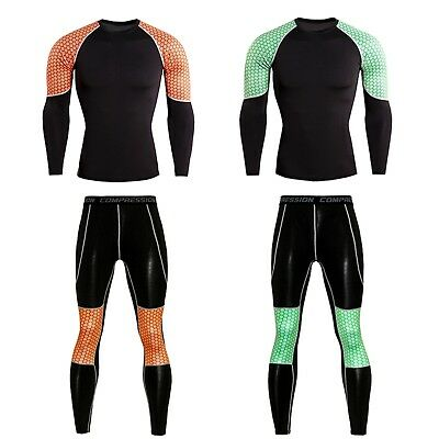 Men Compression Base Layer Long Sleeve Tops Pants Gym Slim Fitness Athletic Wear