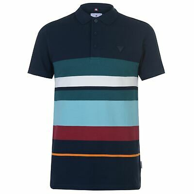 Soviet Contrasting Stripe Polo Shirt Mens Multi Collared Top Tee Small