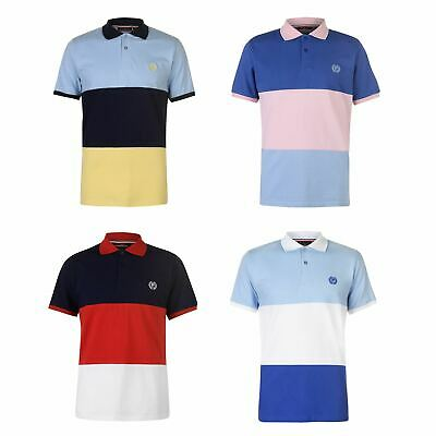 Pierre Cardin Large Block Polo Shirt Mens Collared Top Tee Sky/Navy/Yellow Small