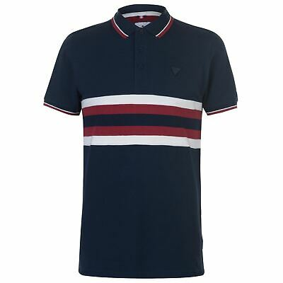 Soviet Ribbed Stripe Polo Shirt Mens Navy/Red Collared Top Tee Small