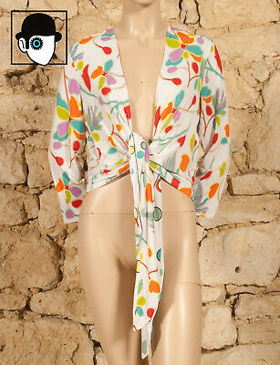 'Chacok' Floral Print Tie Front Top - Uk 14 - (Z)