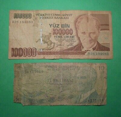 2X Low Grade Banknotes From Turkey.