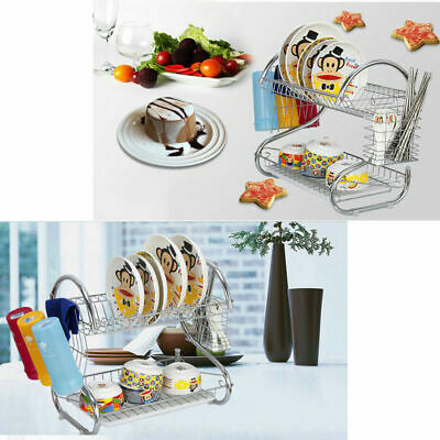 2-Tier Kitchen Dish Cup Drying Rack Drainer Dryer Cutlery Kitchenware Holder US