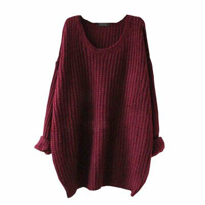 Women Baggy Knit Jumper Off-the-shoulder Sweater Top Oversized Soft Elasticity