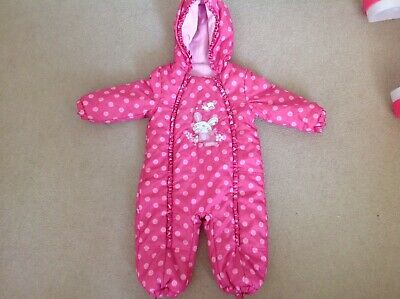 Stunning Girls Thick Padded All In One Coat Snowsuit Puddle Suit 12-18 Months