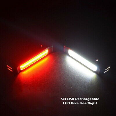 Waterproof USB Rechargeable LED Bicycle Front Rear Light Bike Cycling Tail Lamp