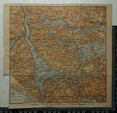 1897 Baedeker Map of Loch Lomond, Helensburgh, Callander, The Trossachs,Scotland