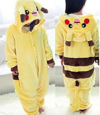 Kid Children Boys Girls Pikachu Bathrobe Pajamas Sleepwear Cosplay Costume 3-10Y