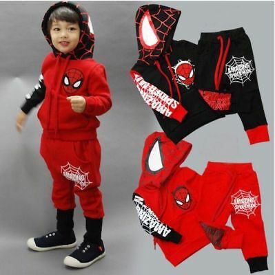Kids Boys Spiderman Tracksuit Hoodie Sweatshirt Hooded Pants Clothes Outfits Set