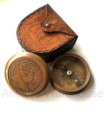 Antique Brass Working Compass With Leather Case Vintage Marine Pocket Compass
