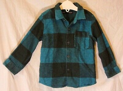 Boys Next Blue Grey Check Brushed Cotton Long Sleeve Shirt Age 12-18 Months