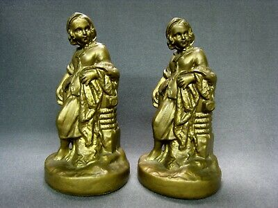 Pair Antique Bronzed Bookends Early 20th Century VG Original Condition ART DECO