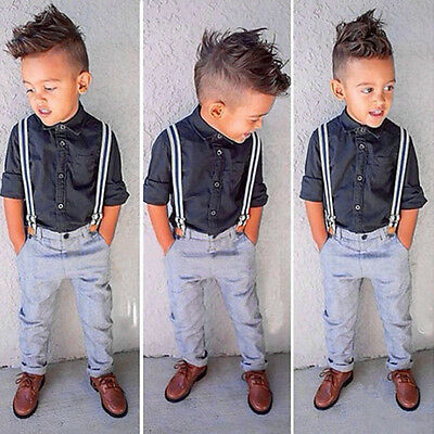 2Pcs Kids Boys Dress Shirt Tops + Suspender Pants Formal Suit Outfits Sets 2-7Y