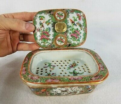 Rare Form Chinese Famille Rose Covered Dish with Perforated Insert