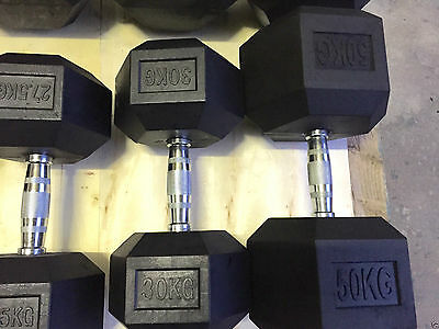 Commercial Gym Rubber Hex Dumbbells - 2.5kgs to 50kgs - Various Sets Available