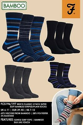 Farah - 3 Pack Quality Colourful Soft Grip Striped Mens Bamboo Socks Size 6-11