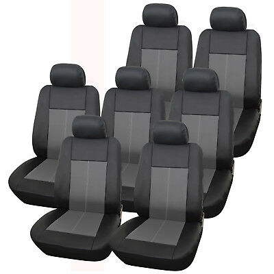 Premium Leather Look Milan Black & Grey Car MPV Seat Cover Set 14 Piece