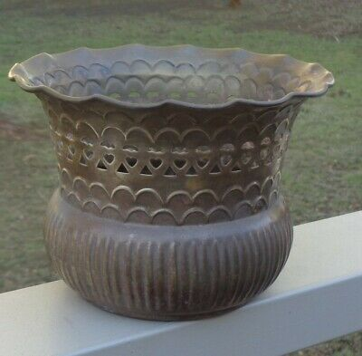 Lovely Vintage Patterned Brass Plant Pot Jardiniere *Made in India