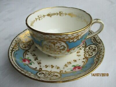 Antique Hand Painted Staffordshire  Cup & Saucer (bbvh)
