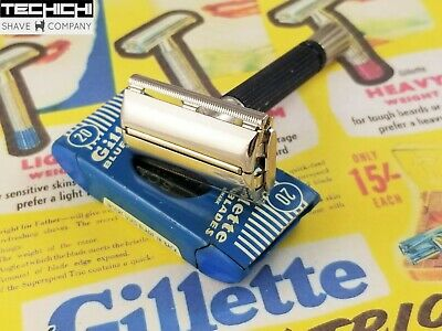 1966 L4 Gillette Black Handle Super Speed Vintage Double Edge Safety Razor
