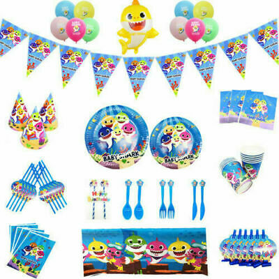 Baby Shark Kids Birthday Party supplies. hats , napkins . tablecloths etc