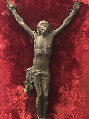 Christ Time Louis XIV Wood Carved Crucifix Xvii Th Antique French 17th